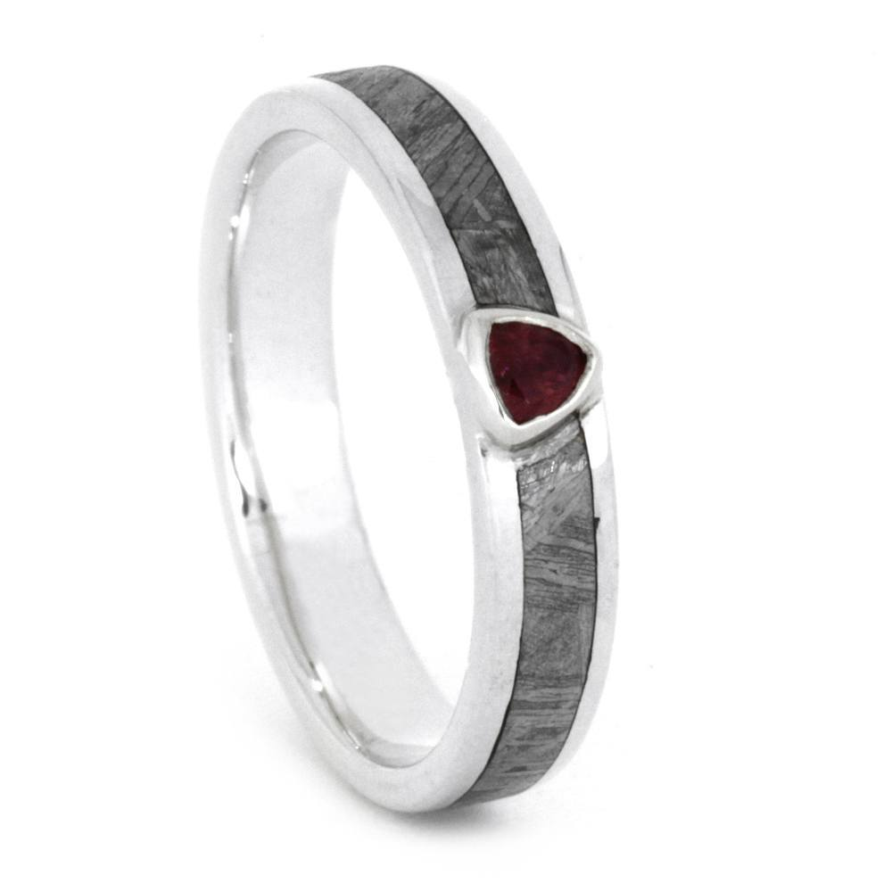 14K White Gold Ruby and Meteorite Ring