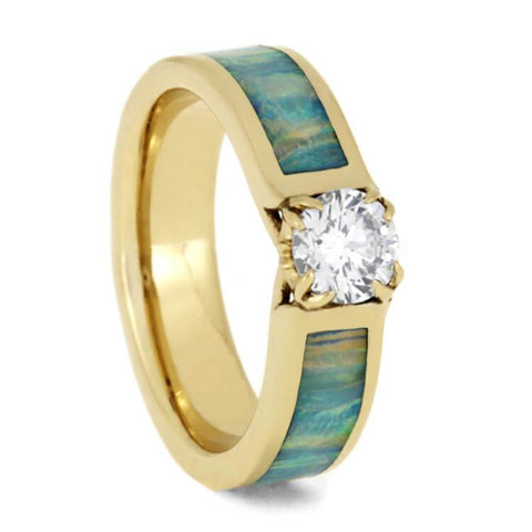14K Yellow Gold Diamond Engagement Ring with Opal Inlay