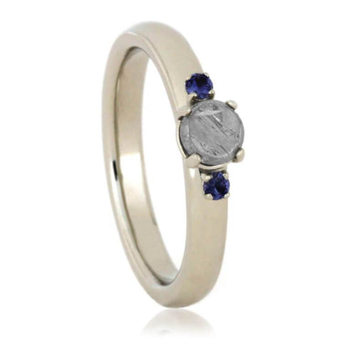 14K White Gold Meteorite and Sapphire Engagement Ring