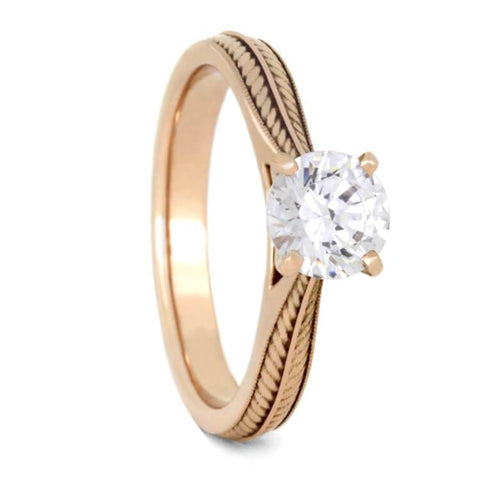 14K Rose Gold Moissanite Solitaire Engagement Ring