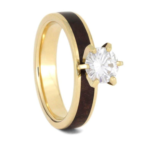14K Yellow Gold Moissanite and Hardwood Engagement Ring