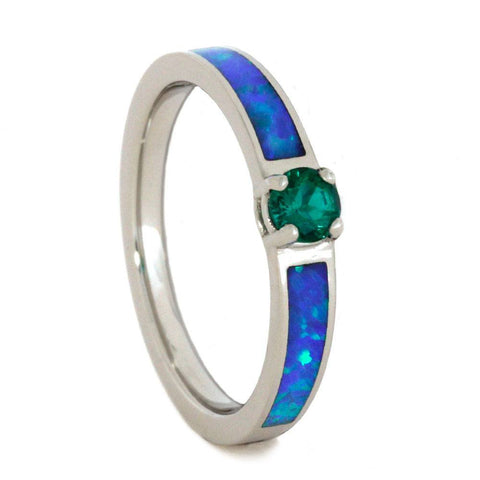 10K White Gold Emerald and Opal Engagement Ring
