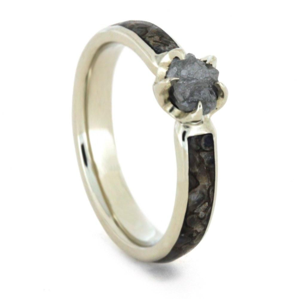 14K White Gold Rough Diamond and Dinosaur Bone Engagement Ring
