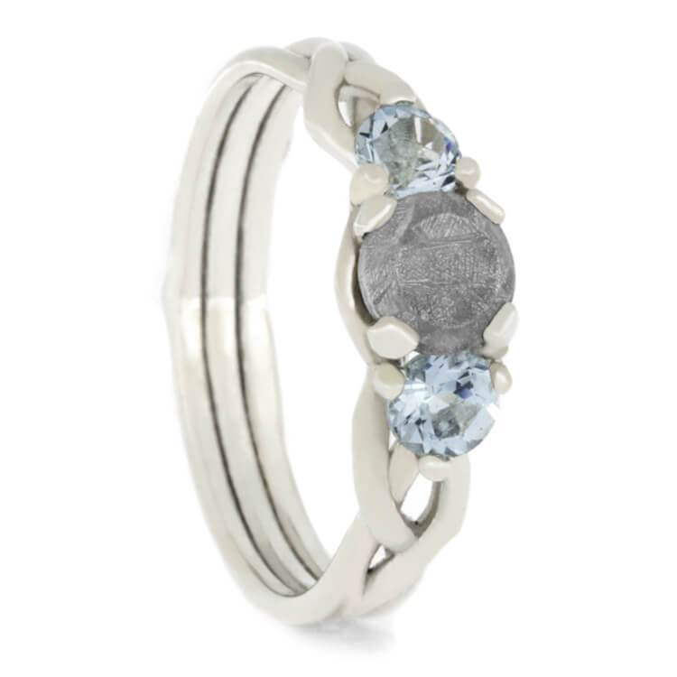 Sterling Silver Meteorite and Aquamarine Engagement Ring
