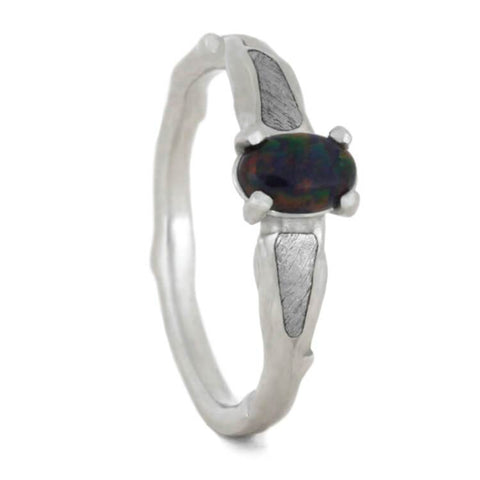 Platinum Black Opal and Meteorite Engagement Ring
