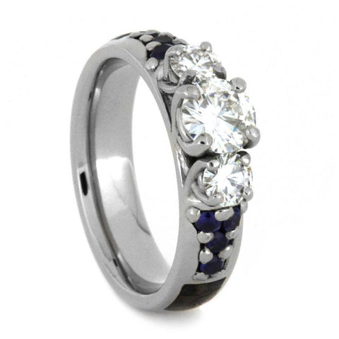 14K White Gold Moissanite and Sapphire Engagement Ring with Dinosaur Bone Inlay