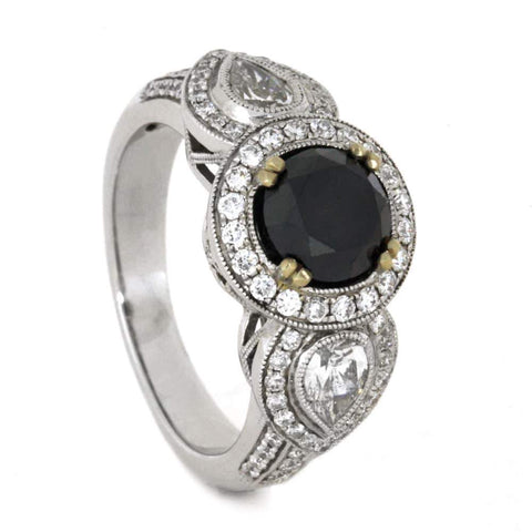14K White Gold Black Diamond and Diamond Engagement Ring