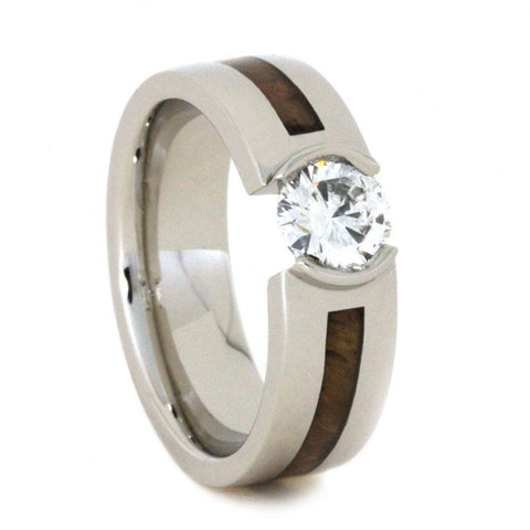 Platinum Moissanite and Hardwood Ring Custom Made