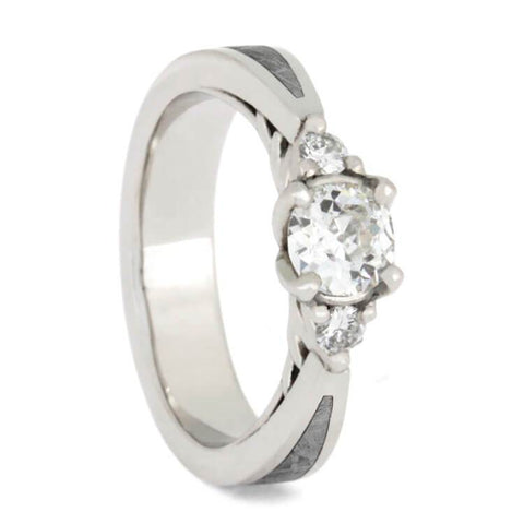 Platinum Diamond Engagement Ring with Meteorite Inlay