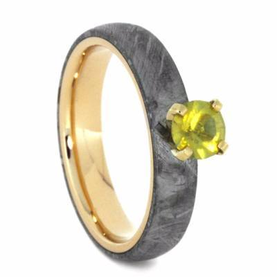 14K Yellow Gold Sapphire and Meteorite Engagement Ring