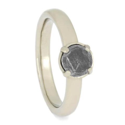 14K White Gold and Meteorite Engagement Ring