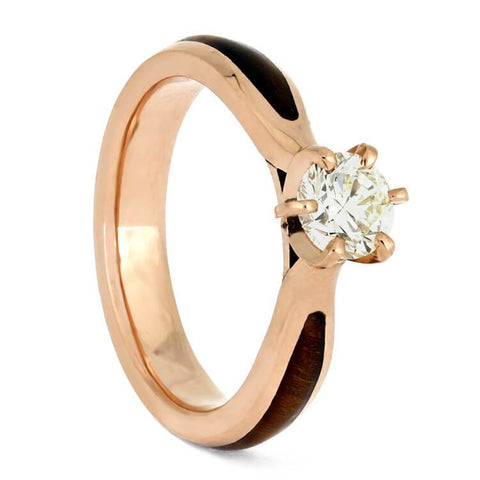 14K Rose Gold Diamond Solitaire Ring with Hardwood Inlay