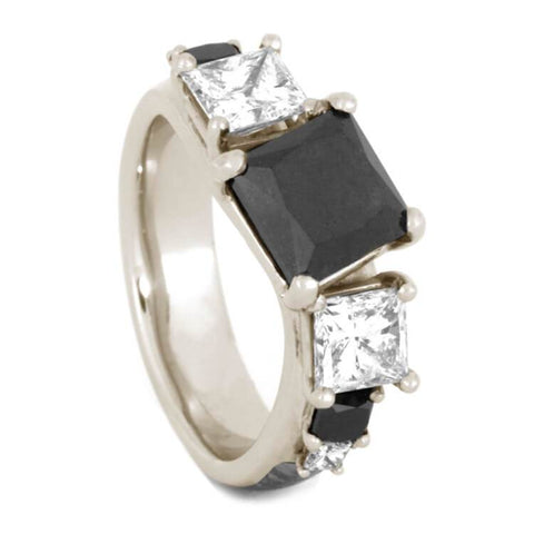 14K White Gold Black Diamond and Diamond Ring with Meteorite