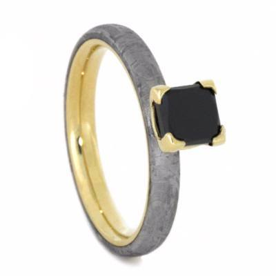14K Yellow Gold Black Diamond and Meteorite Engagement Ring