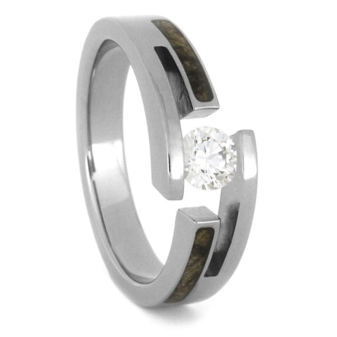 Titanium Diamond Tension Set Ring with Hardwood Inlays