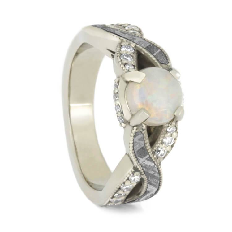 14K White Gold Opal Diamond and Meteorite Engagement Ring