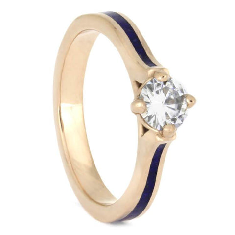 14K Rose Gold Moissanite and Lapis Engagement Ring
