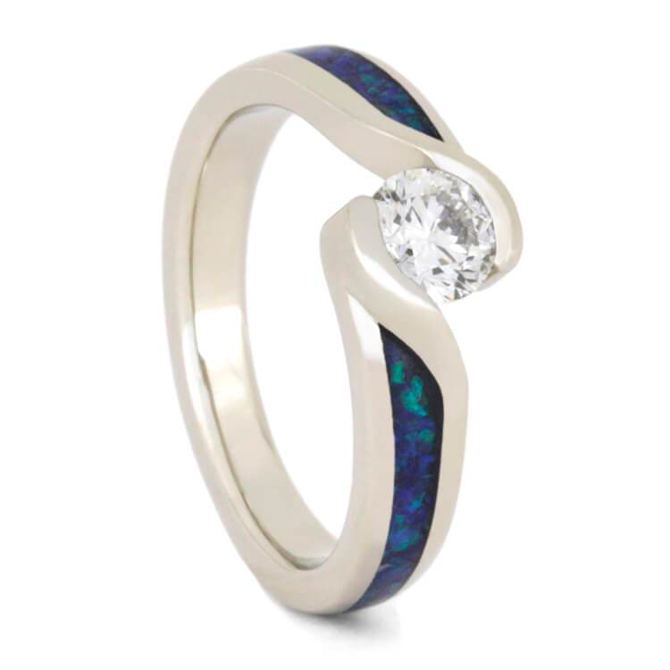 14K White Gold Diamond and Opal Engagement Ring