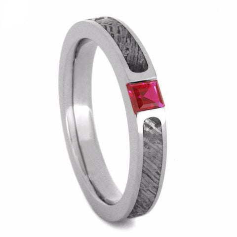 14K White Gold Ruby and Meteorite Engagement Ring