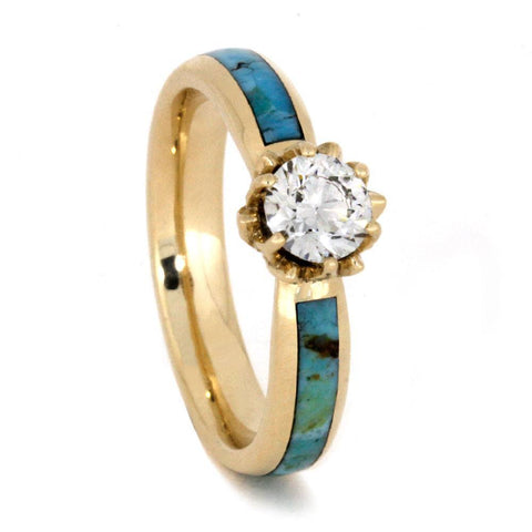14K Yellow Gold Moissanite and Turquoise Engagement Ring with Diamonds