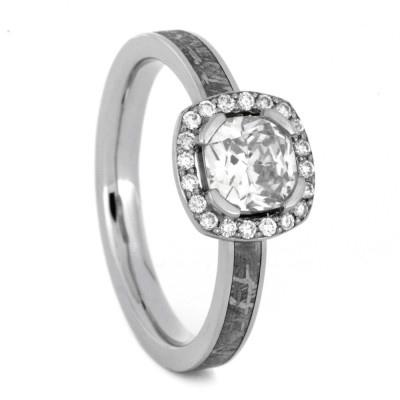 14K White Gold Moissanite and Diamond Halo Engagement Ring with Meteorite