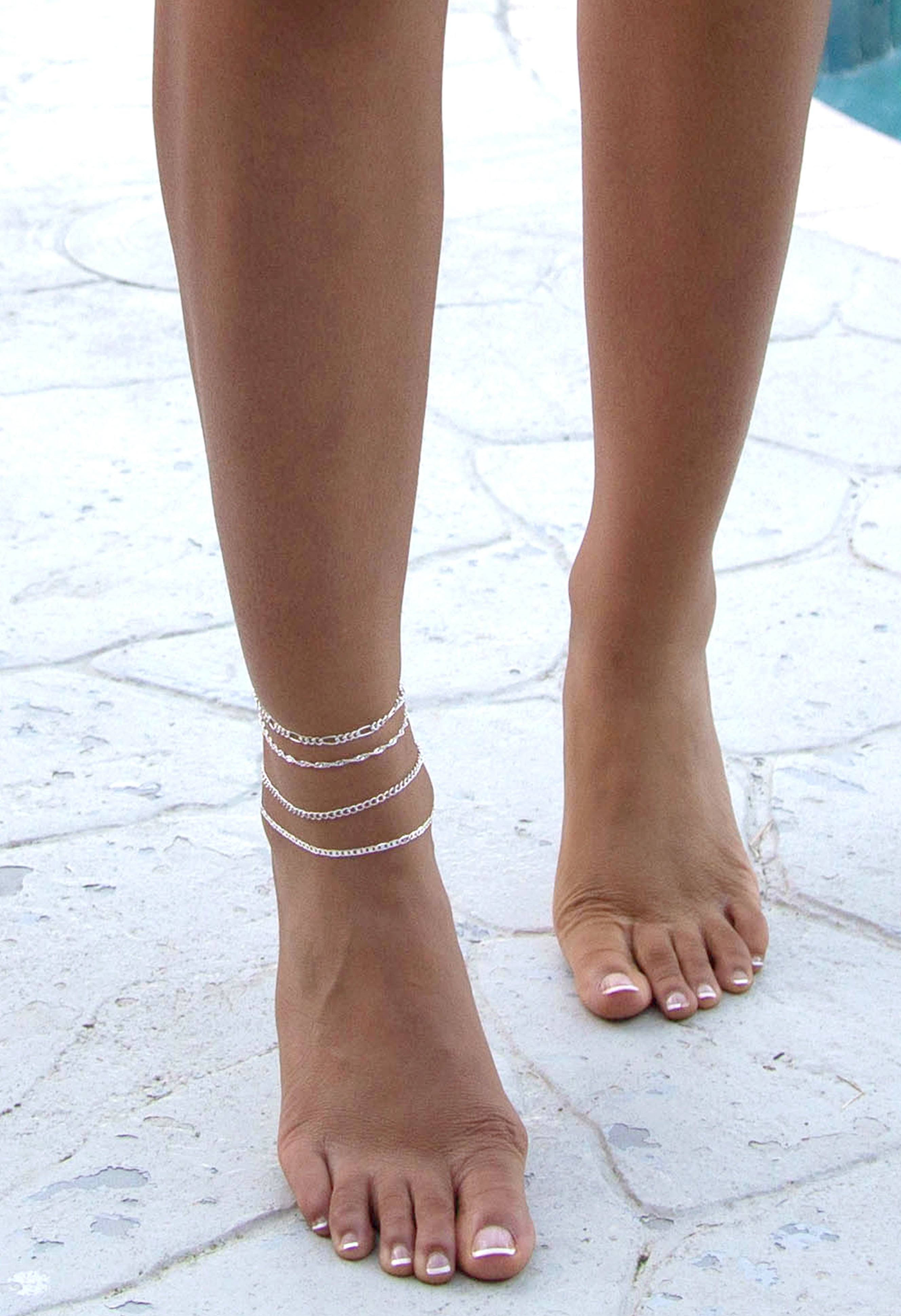 Wes 4 Piece Anklet - Silver
