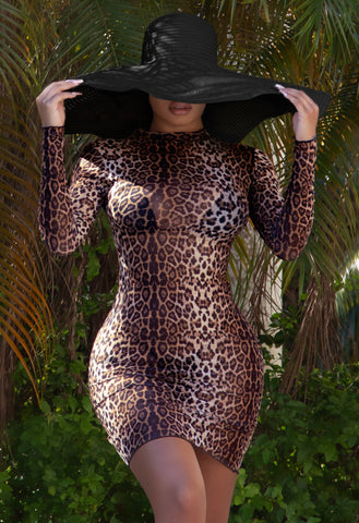 Dillon Mesh Cover Up - Leopard