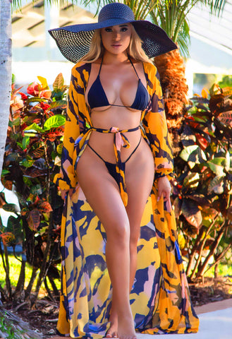 Achilles Sheer Cover Up - Yellow Multi
