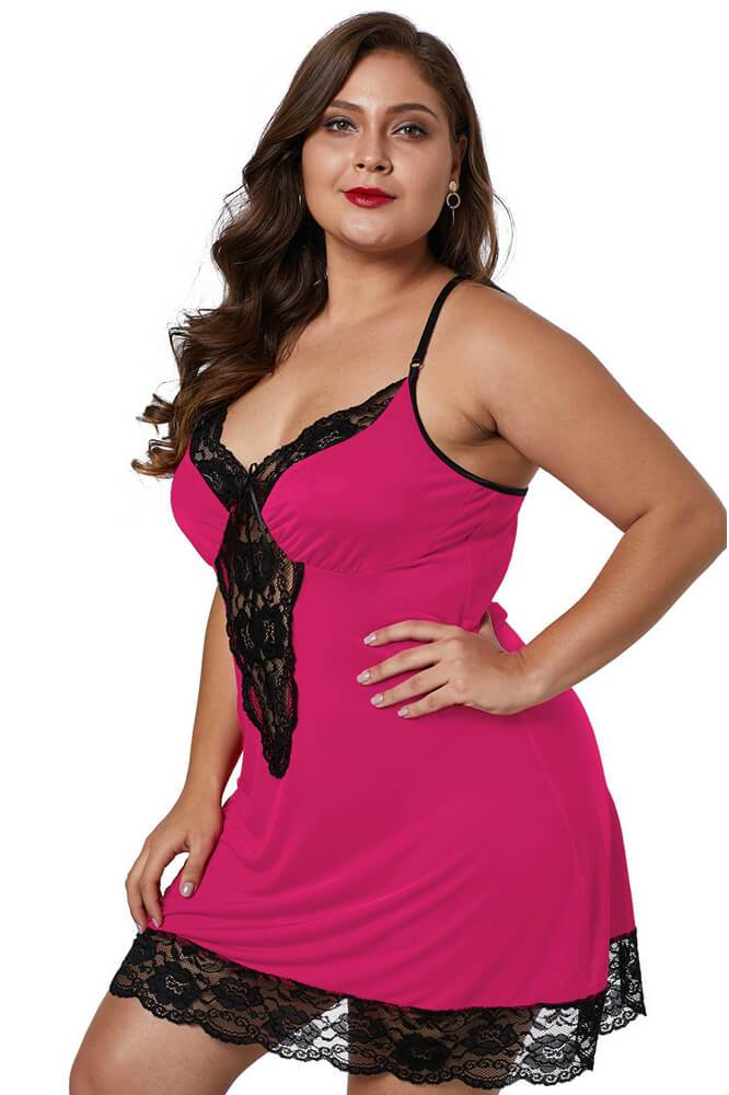 Win Red Venecia Chemise with Lace Trim lingerie
