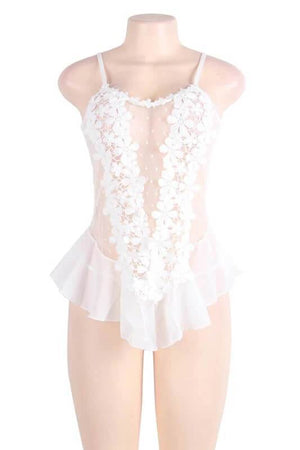 White Floral Sleeveless Sexy Lace lingerie