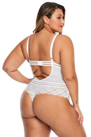 White Deep V Crossbody Bodysuit