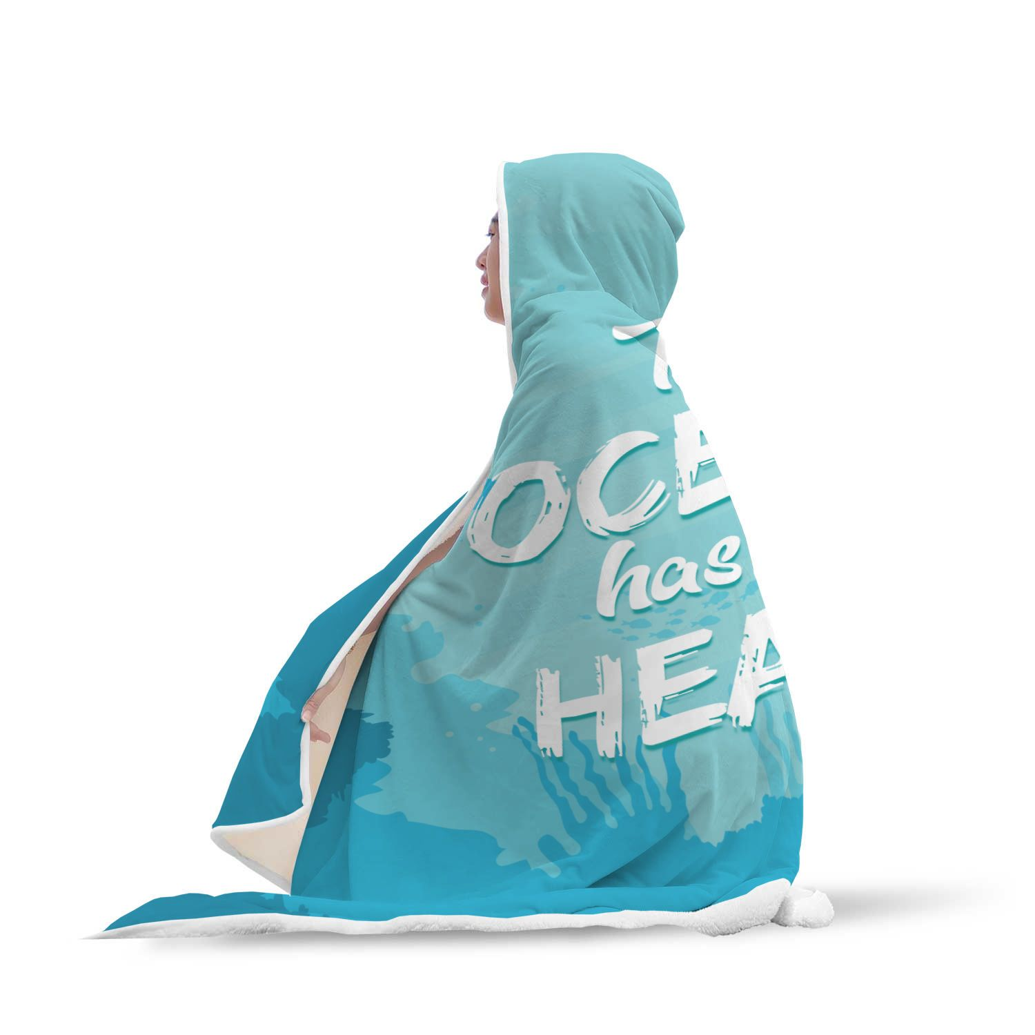 The Ocean Has My Heart Hooded Blanket
