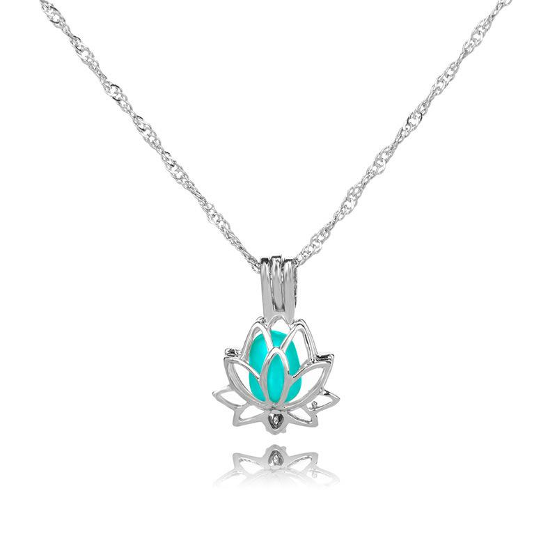 Glow In The Dark Lotus Pendant Necklace