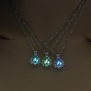 Glow In The Dark Lotus Pendant Necklace - Free + Shipping