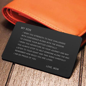 Family gifts - Engraved Love Note - Wallet Insert - To My Son