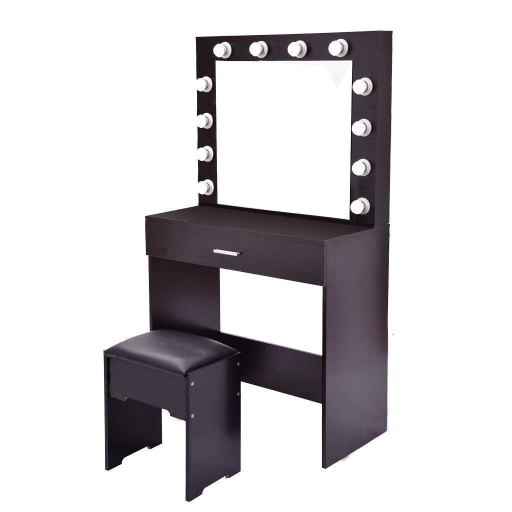 Vanity Set With Lighted Mirror Cushioned