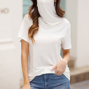 Women's Casual Loose Round Neck Short Sleeve Face mask Top Blouse T-shirt