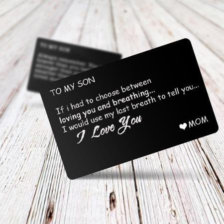 Family Gifts - Engraved Message Wallet Insert Card - To My Son
