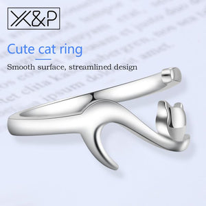Long Tail SilverCat Rings for Women - Adjustable