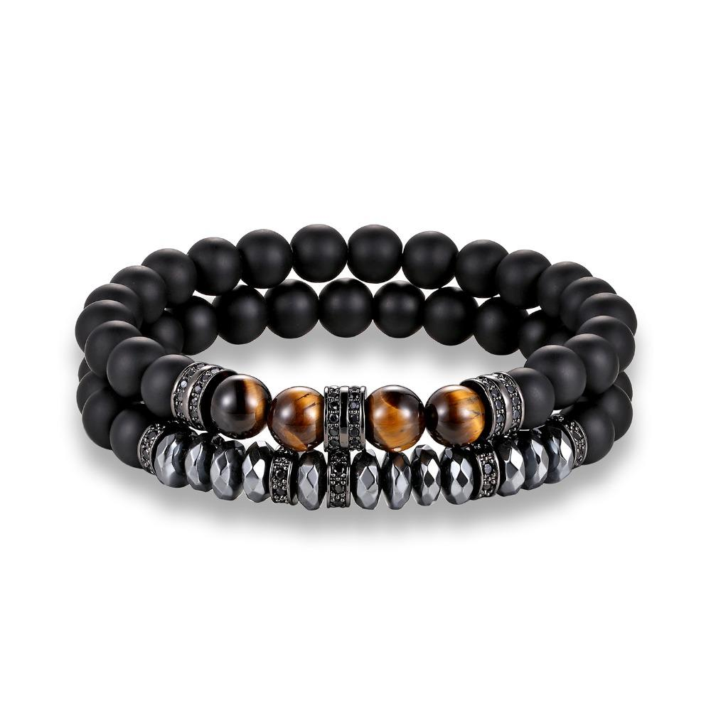 HEMATITE AND TIGER'S EYE BRACELET 2PCS SET