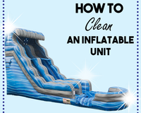 How to clean an inflatable unit, featuring a blue water slide.