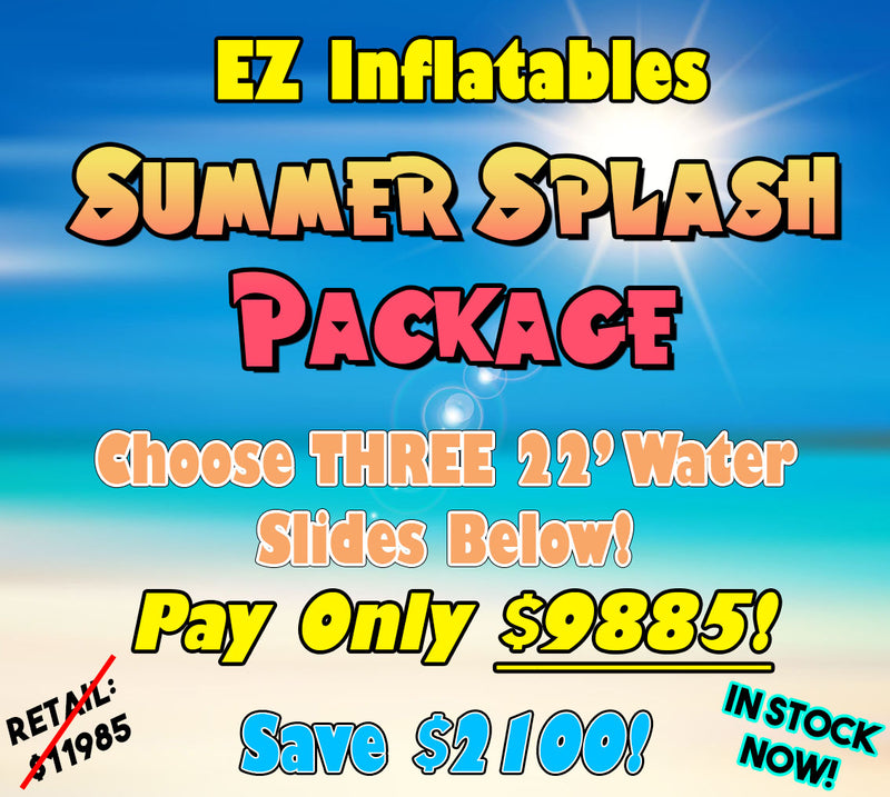 EZ Inflatables Summer Splash Package! Choose three new water slides and pay only $9885! Save a total of $2100!