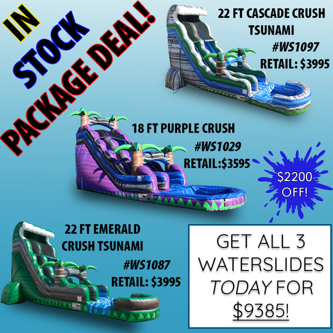 We're offering a Package Deal on EZ Inflatables Custom Water Slides! Get all 3 for $9385!
