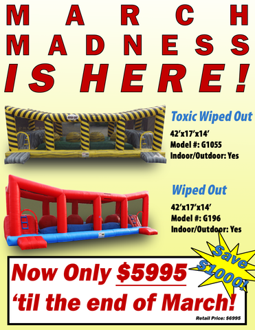 March Madness is here! Get an EZ Inflatables Toxic Wiped out or red original Wiped out for only $5995!