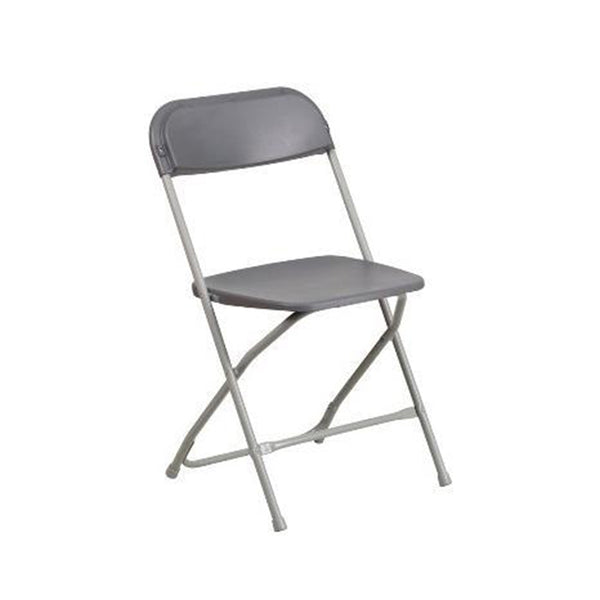 Plastic Folding Gray Chair (10 Pc Pack) - Adult