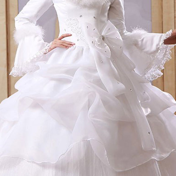 ... White Organza Cheap Muslim Wedding Dresses Long Sleeves Winter Wedding  Gowns Vestido Noiva ...