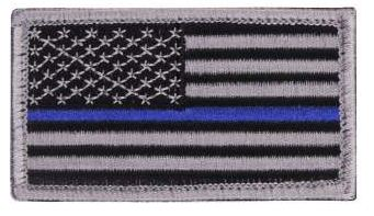 Thin Blue Line Police U.S. Flag Patch - Hook Back