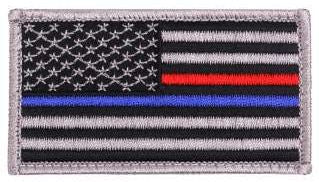 Thin Blue / Red Line US Flag Patch - Hook Back