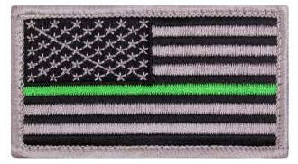 Thin Green Line US Flag Patch - Hook Back