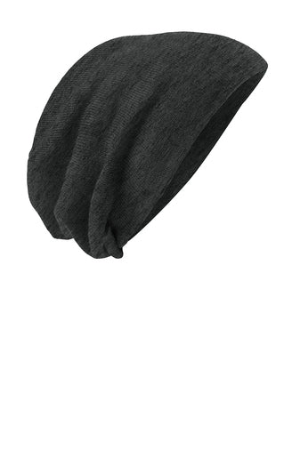 Grey Thin BLUE Line Flag Skull Slouch Beanie Hat